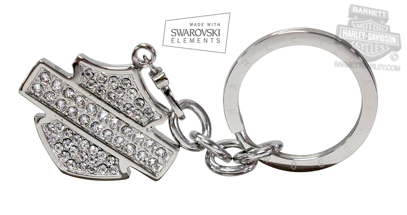 Harley-Davidson® Womens Keychain Plain B&S with Swarovski® Elements