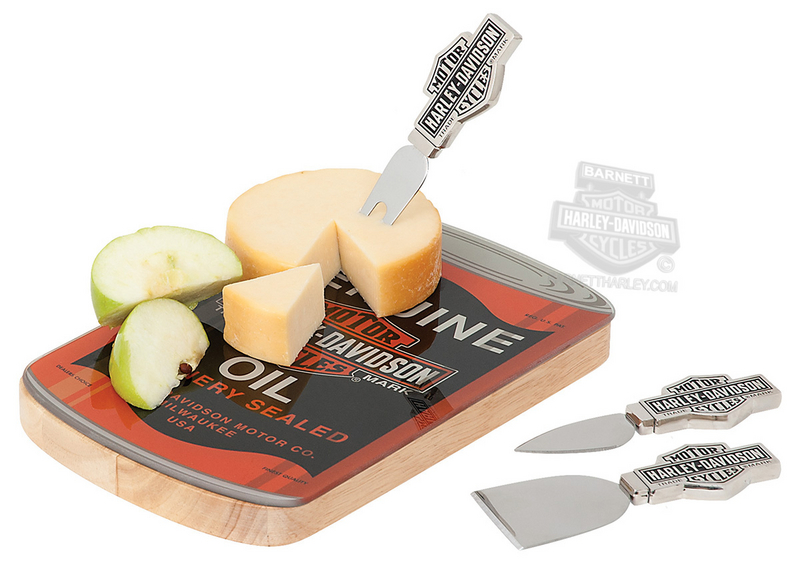 Harley-Davidson® Genuine Oil Can Cutting Board Cheese Set
