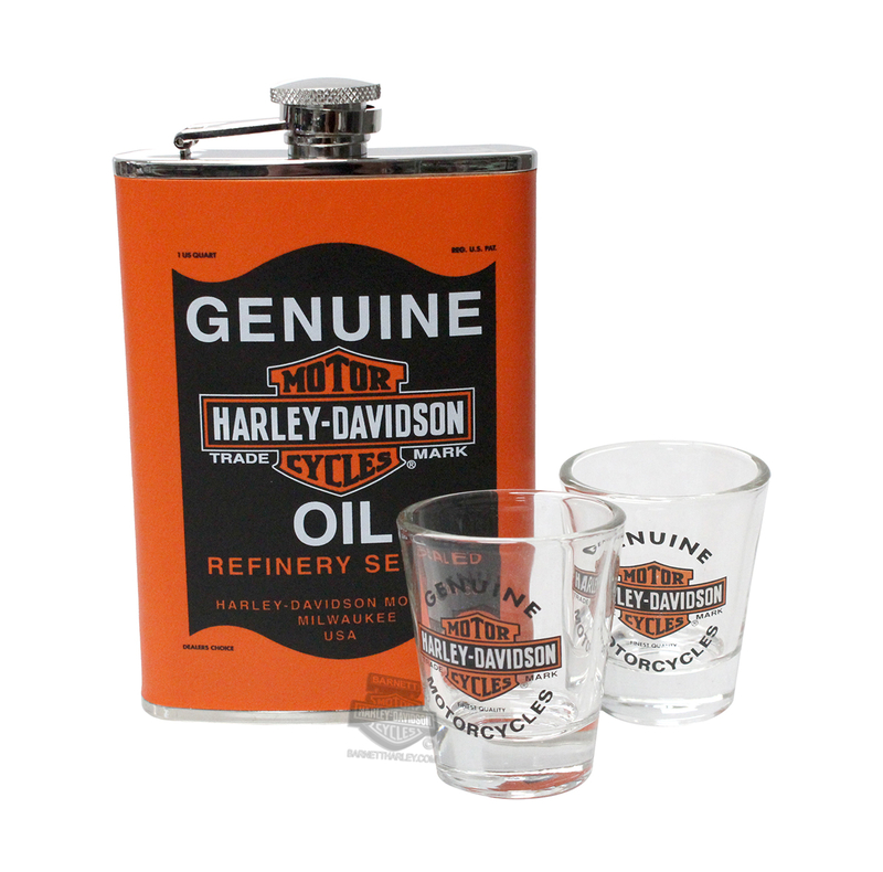 Harley-Davidson® Oil Can Trademark B&S Flask Set