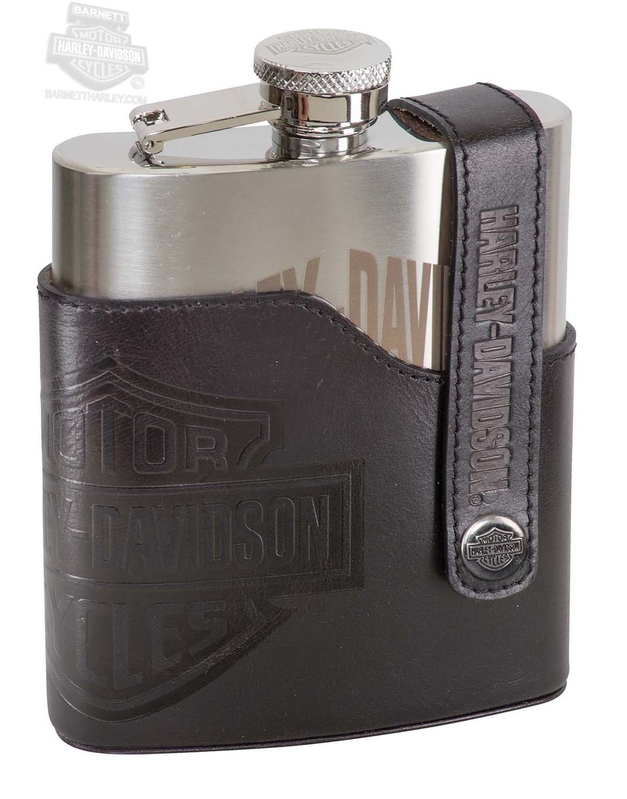 Harley-Davidson® B&S with Leather Holder Flask Set