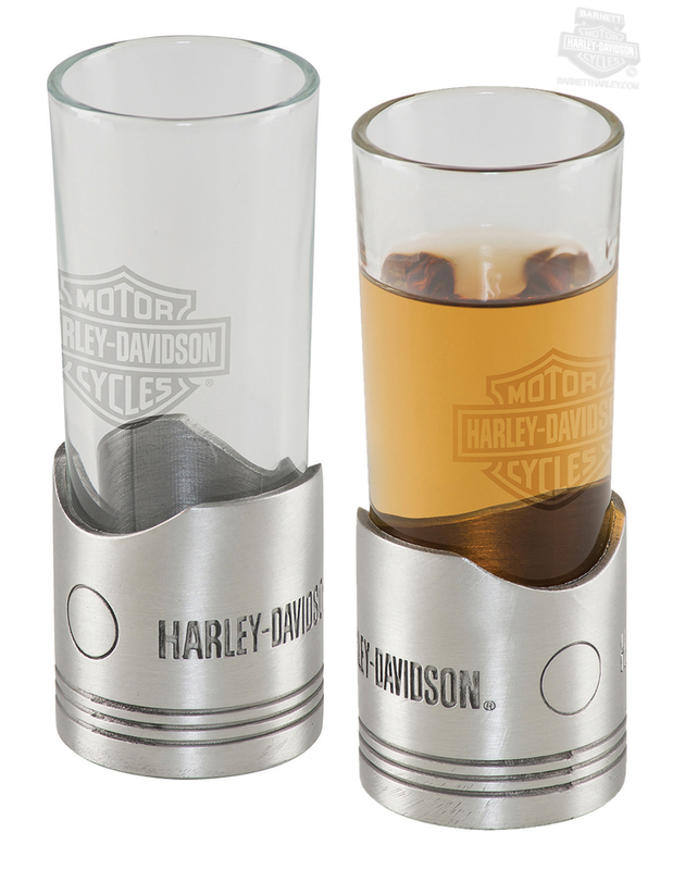 Harley-Davidson® H-D Piston Shaped Metal Base Shotglass Set