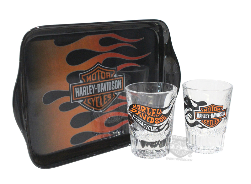 Harley-Davidson® H-D Flames with B&S Wall Mount Shot Glass Set