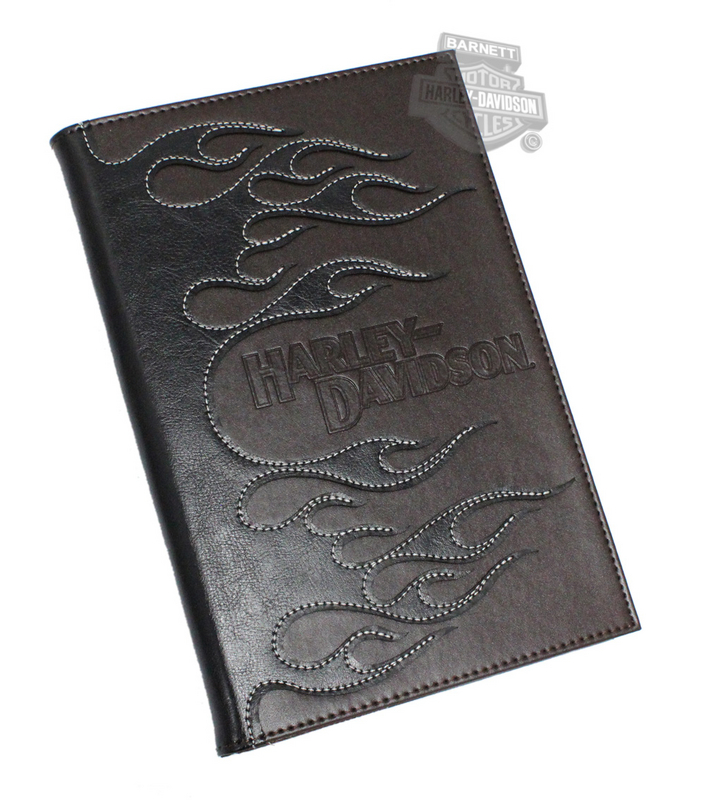 Harley-Davidson® Leather Flames with Contrast Stitching Journal Cover