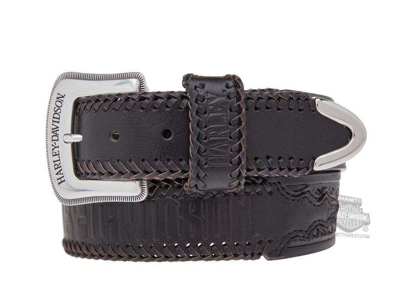 ** SMALL & BIG SIZES ONLY ** Harley-Davidson® Mens Dakota Woven Leather Detail Black Leather Belt by LODIS