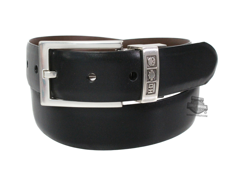 Harley-Davidson® Mens Daily Grind Plain Black / Brown Reversible Leather Belt by LODIS *CYB*