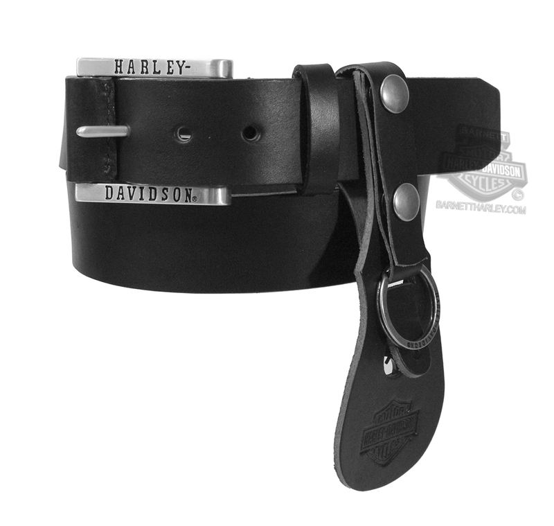 Harley-Davidson® Mens Heavy Hitter Plain Black Leather Belt & Keychain Combo by LODIS *CI1*