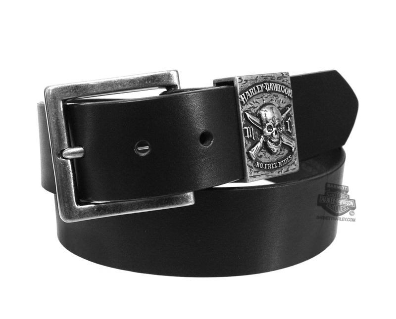 ** SMALL & BIG SIZES ONLY ** Harley-Davidson® Mens No Free Ride Skull with Crossbone Weapons Black Leather Belt by LODIS *40th*