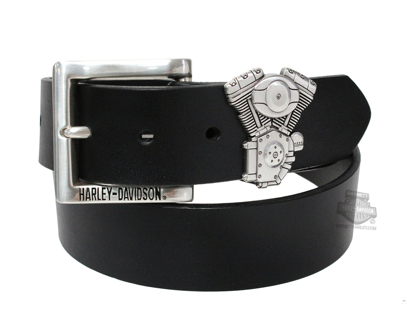 ** SMALL SIZES ONLY ** Harley-Davidson® Mens V-Twin Black Leather Belt by LODIS *40th*