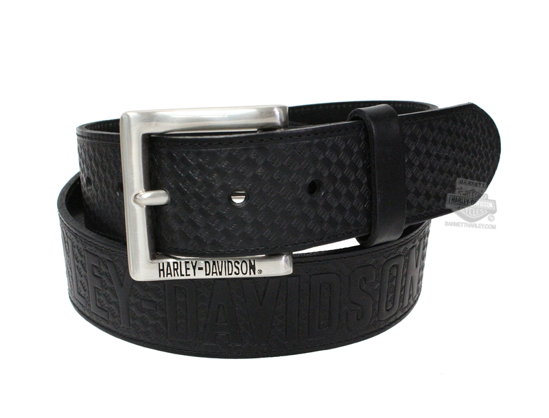 ** SMALL & BIG SIZES ONLY ** Harley-Davidson® Mens Enforcer H-D Name Black Leather Belt by LODIS *40th*