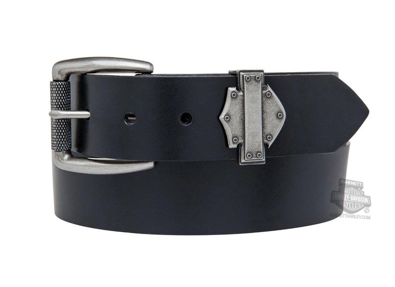 Harley-Davidson® Mens Forged Metal B&S with Rivets Black Leather Belt by LODIS