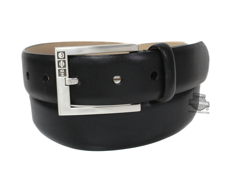 ** SMALL SIZES ONLY ** Harley-Davidson® Mens All Business Plain Black Leather Belt by LODIS