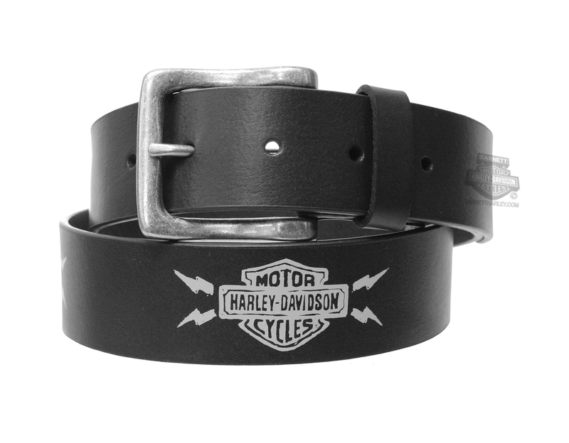 ** SIZE 34 & 40 ONLY ** Harley-Davidson® Mens Thunderstruck Lightning B&S Black Leather Belt by LODIS *CYB*