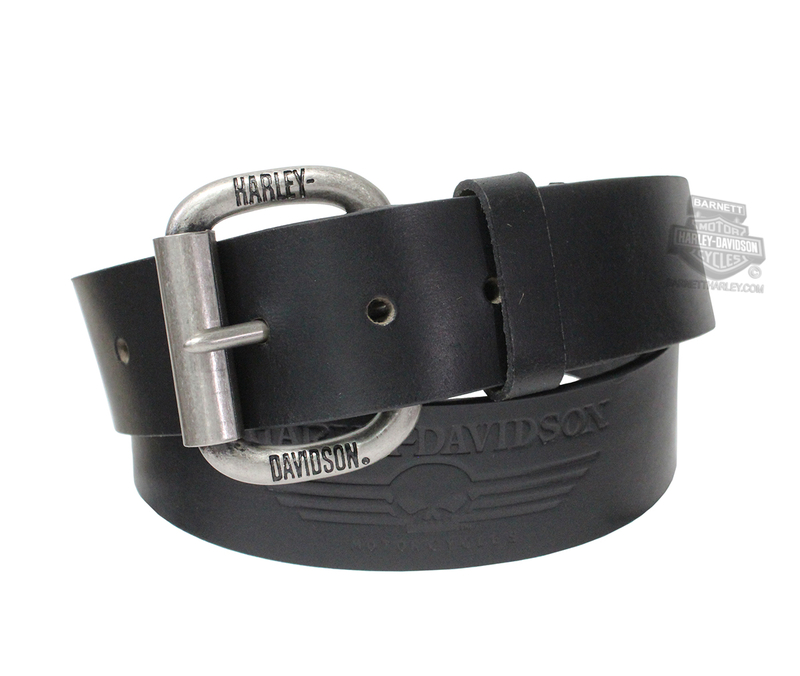 Harley-Davidson® Mens Cockpit Willie G Skull Black Leather Belt by LODIS *CIJ*