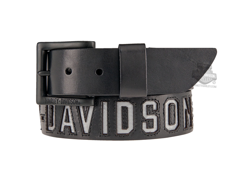 ** SMALL & BIG SIZES ONLY ** Harley-Davidson® Mens Top Gun Reflective H-D Name Black Leather Belt by LODIS