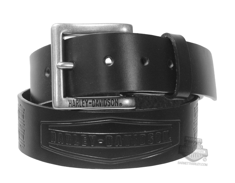 ** BIG SIZES ONLY ** Harley-Davidson® Mens Charger H-D Name Black Leather Belt by LODIS