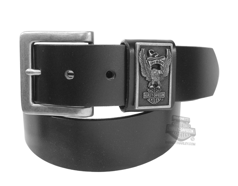 ** SIZE 34 ONLY ** Harley-Davidson® Mens Eagle Rider B&S with Banner Black Leather Belt by LODIS