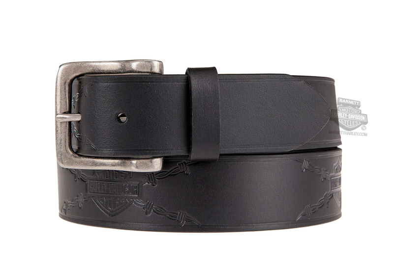 Harley-Davidson® Mens Danger Zone B&S Logo with Barbed Wire Black Leather Belt by LODIS *CIJ*