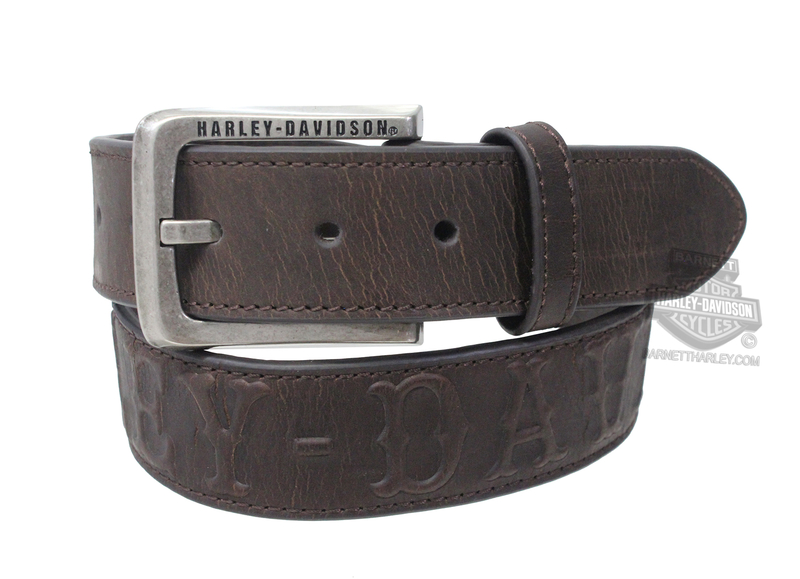 ** SMALL & BIG SIZES ONLY ** Harley-Davidson® Mens Westward B&S Medallions with Embossed Graphic Brown Leather Belt by LODIS