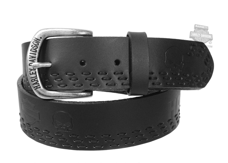 Harley-Davidson® Mens Eliminator Willie G Skull with B&S Black Leather Belt by American Accessories