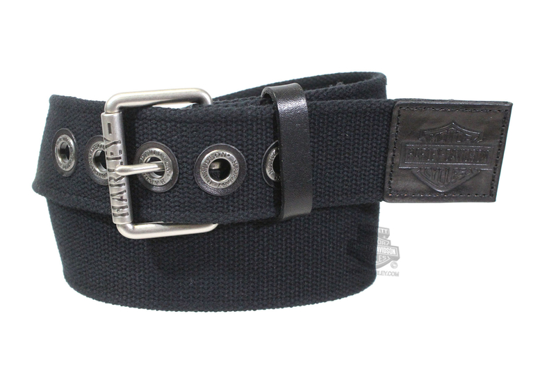Harley-Davidson® Mens Bad Manners Canvas Stretch Black Belt by American Accessories