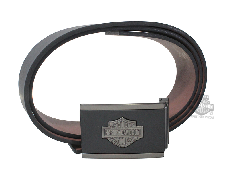 Harley-Davidson® Mens Black Top Belt & Buckle Leather Gift Set by American Accessories