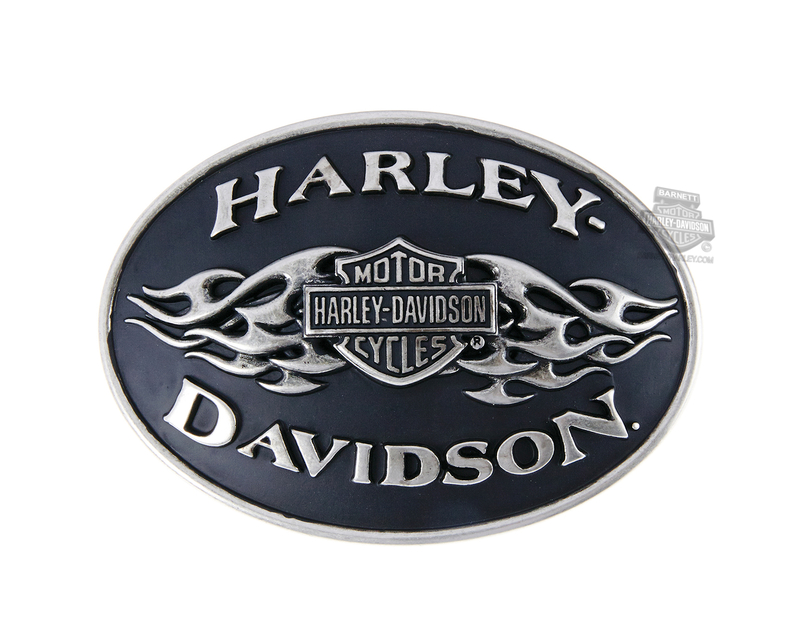 Harley-Davidson® Mens Antique Black Flame Buckle by LODIS