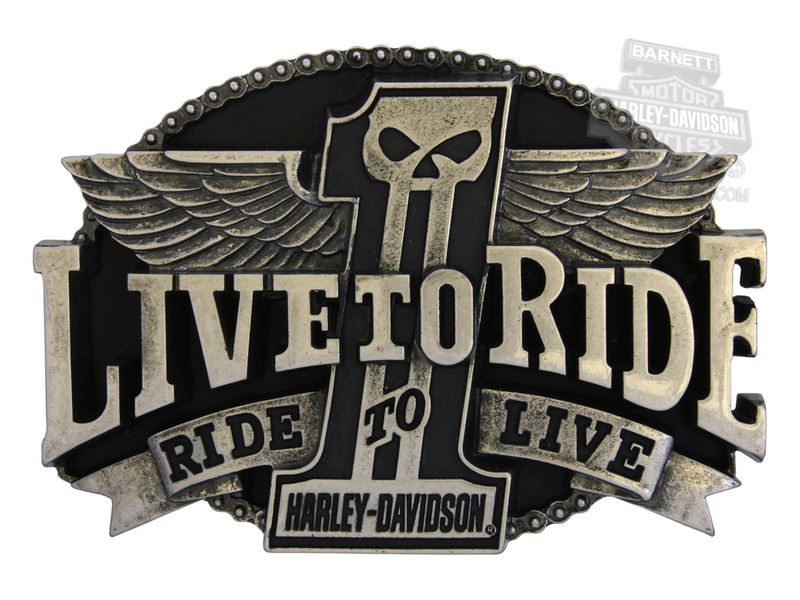 Harley-Davidson® Mens Uno Live To Ride #1 Skull with Wings Buckle by LODIS