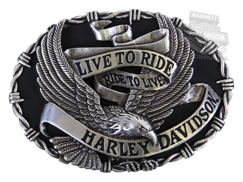 Harley-Davidson® Mens Breezer Eagle Banner with Barbed Wire Buckle by LODIS