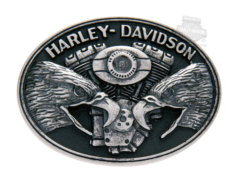 Harley-Davidson® Mens Screaming Eagle V-Twin Motor Black Buckle by LODIS