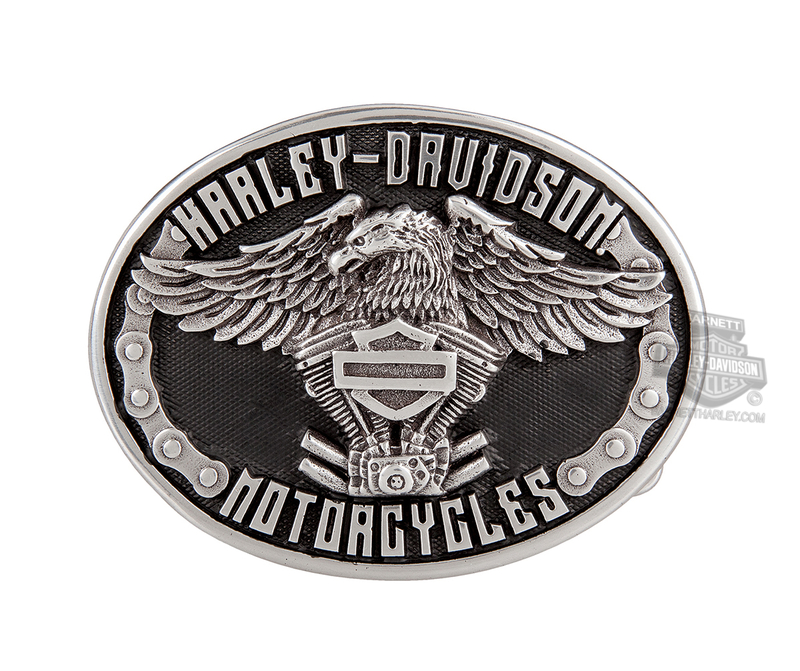 Harley-Davidson® Mens Eagle Rider with Bike Chain Detail Buckle by LODIS
