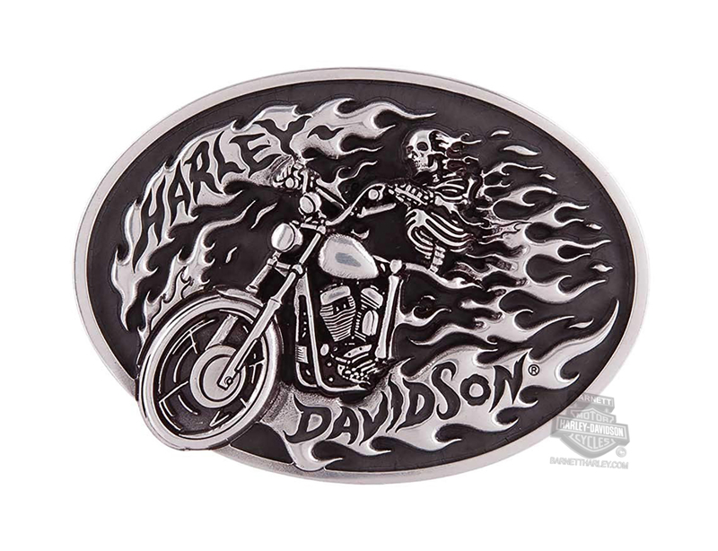 Harley-Davidson® Mens High On Fire Skeleton Rider Buckle by LODIS