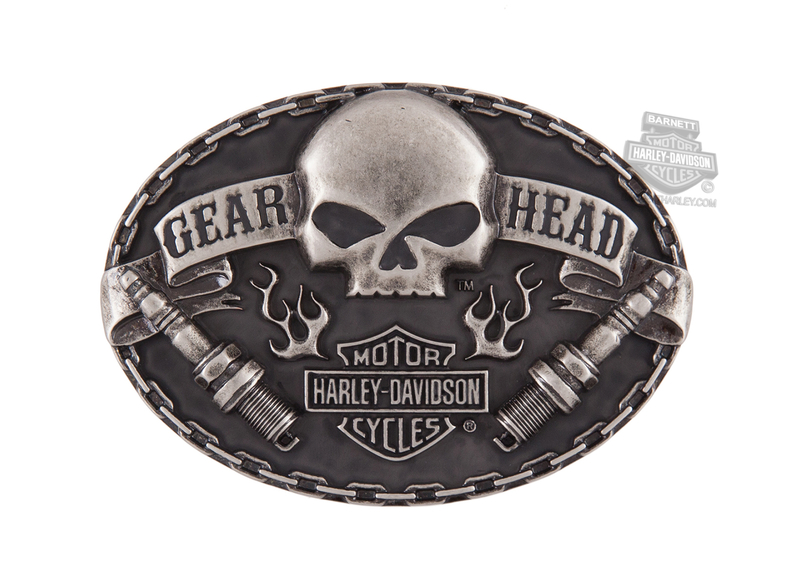 Harley-Davidson® Mens Gear Head Willie G Skull with Spark Plugs Buckle by American Accessories