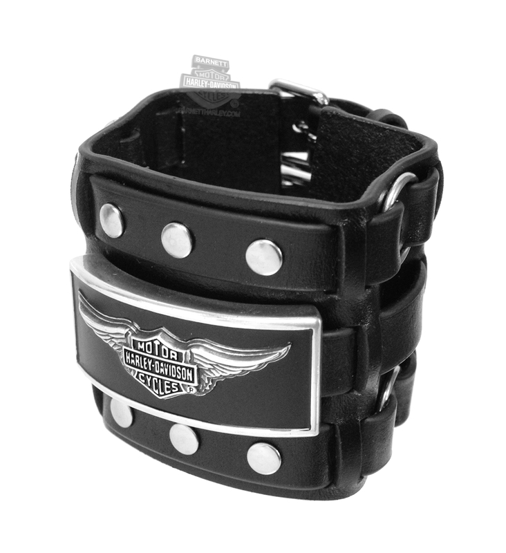 Harley-Davidson® Mens Tradition Winged B&S with Studs Black Leather Wrist Cuff by LODIS *CI1*