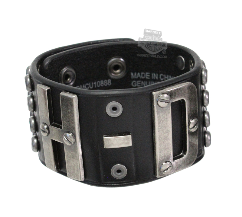 Harley-Davidson® Mens Salvage H-D with Studs Black Leather Wrist Cuff by LODIS
