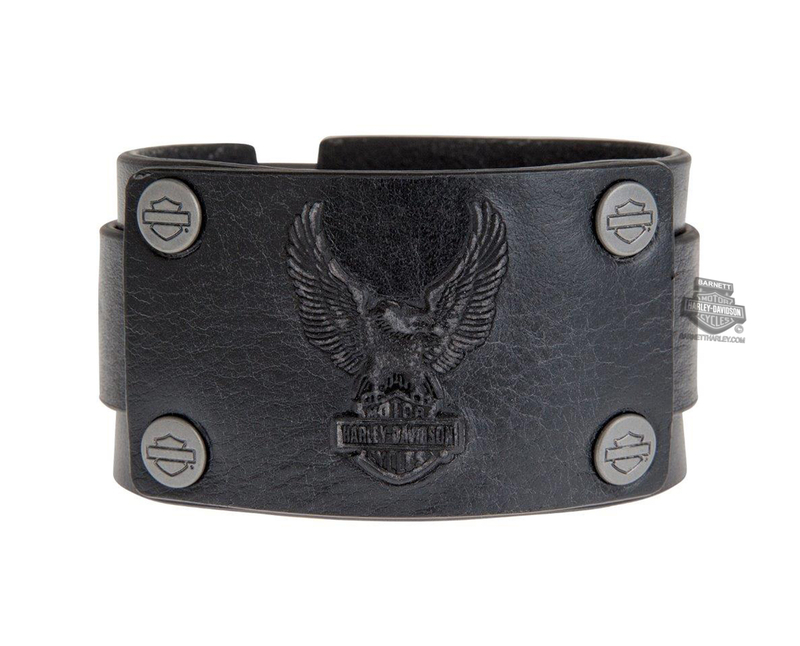 Harley-Davidson® Mens Mudflap Eagle B&S with B&S Logo Rivets Black Leather Wrist Cuff by LODIS