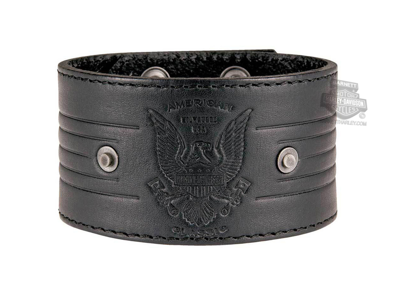 Harley-Davidson® Mens Bomber Eagle Badge Black Leather Wrist Cuff by LODIS *18HR*