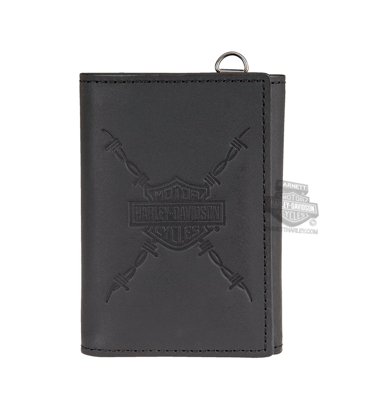Harley-Davidson® Mens Danger Zone B&S Logo with Barbed Wire Black Leather Trifold Wallet by LODIS