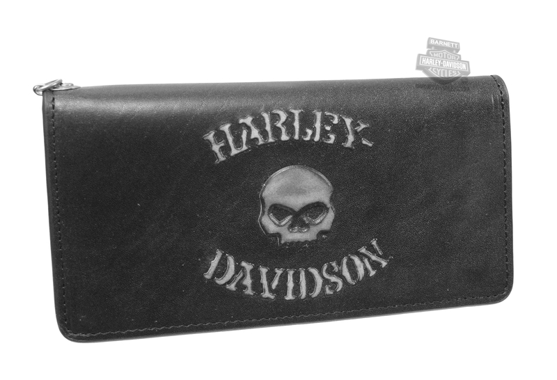 Harley-Davidson® Mens Bad Company Willie G Skull Black Leather Trucker Wallet by LODIS