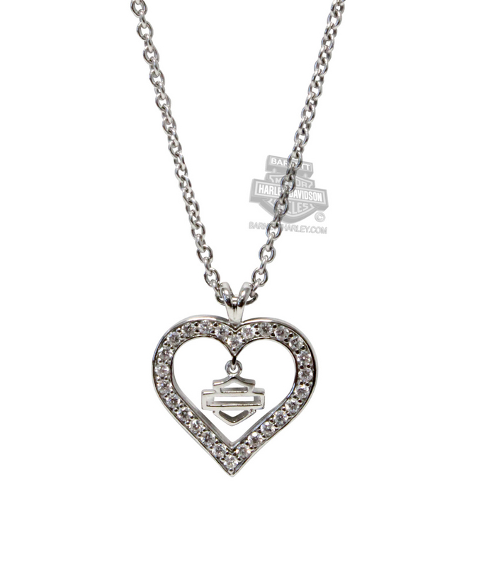 Harley-Davidson® Womens .925 Silver Timeless Heart with White CZ Necklace