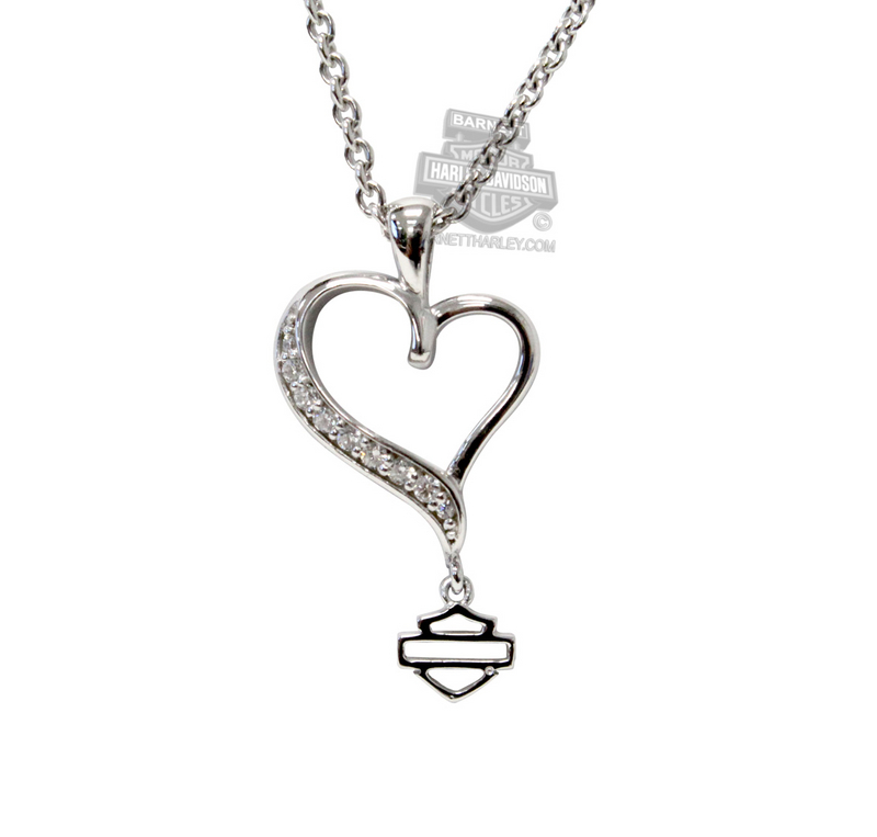 Harley-Davidson® Womens .925 Silver Rebel Heart with White CZ Necklace