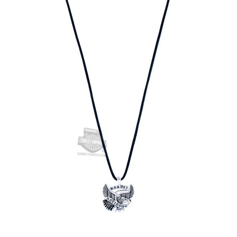 Harley-Davidson® Mens .925 Silver Flying Eagle Banner Silver & Leather Silver Necklace by Mod Jewelry®