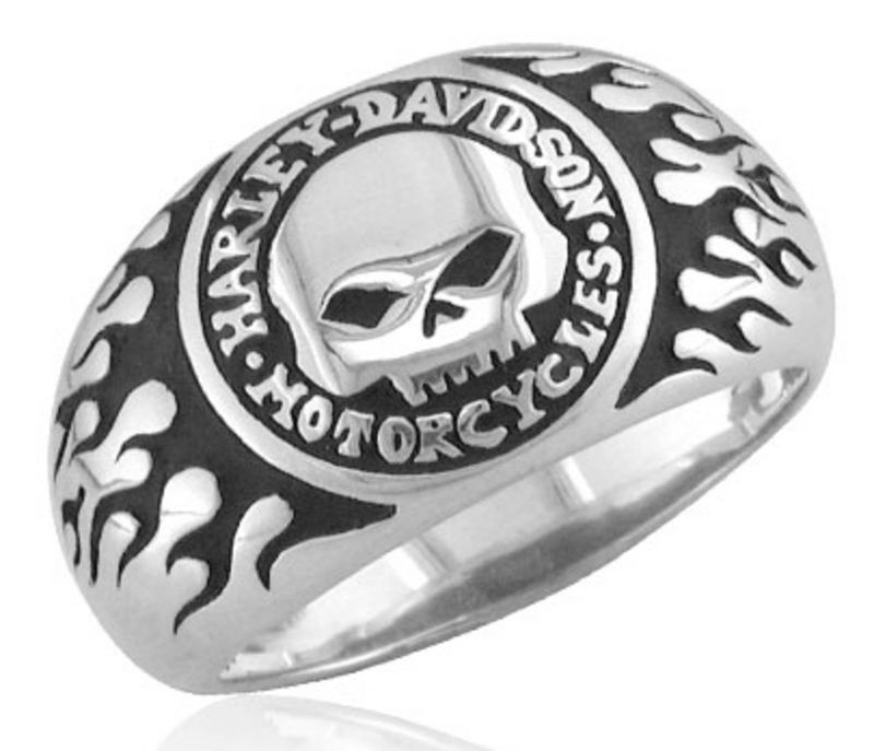 Harley-Davidson® .925 Silver Willie G Skull With Flames Ring