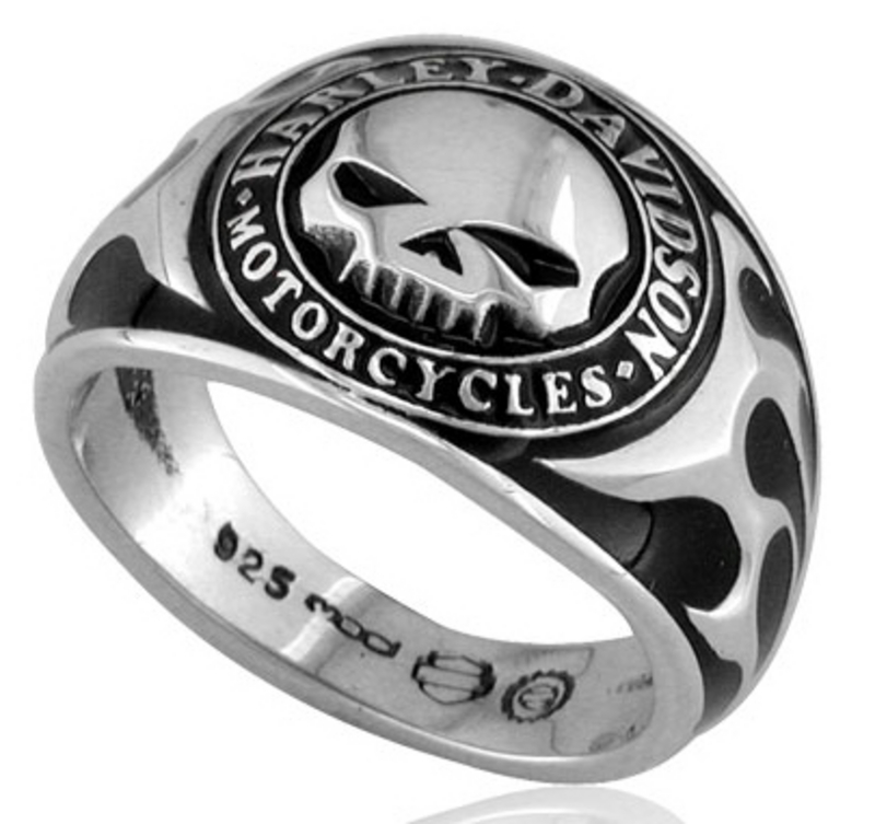 * SMALL & BIG SIZES ONLY ** Harley-Davidson® .925 Silver Skull W/Bk Enamel Ring
