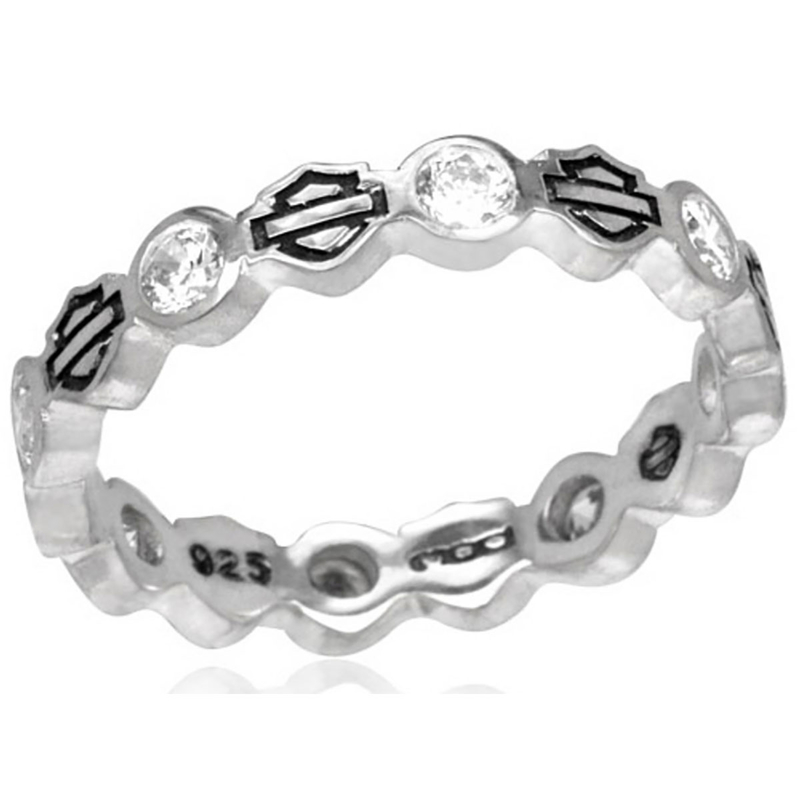 Harley-Davidson® .925 Silver Stacking B&S Stone Womens Ring