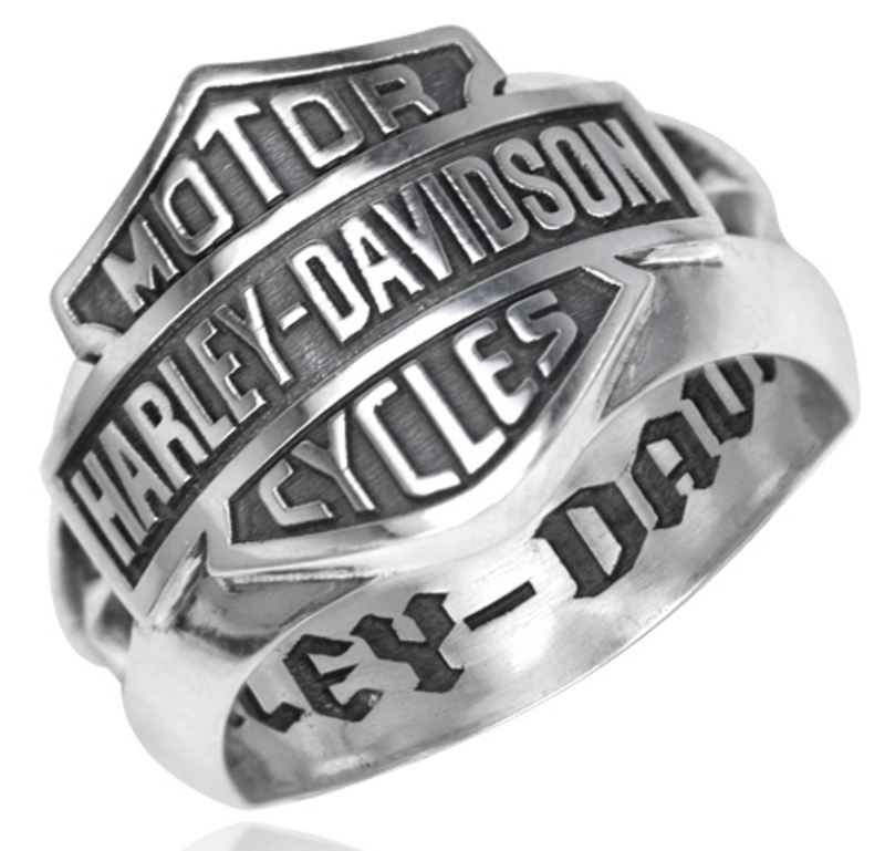 Harley Davidson 925 Silver B S Decorative Band Mens Ring