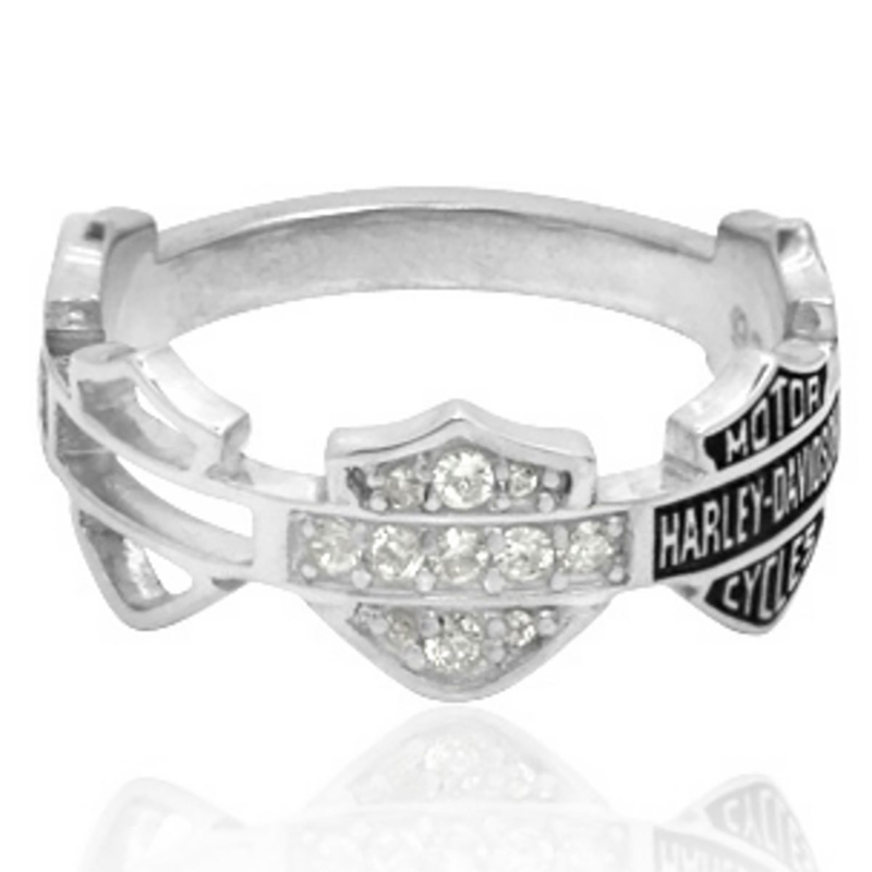 Harley-Davidson® .925 Silver Multi B&S Band Womens Ring