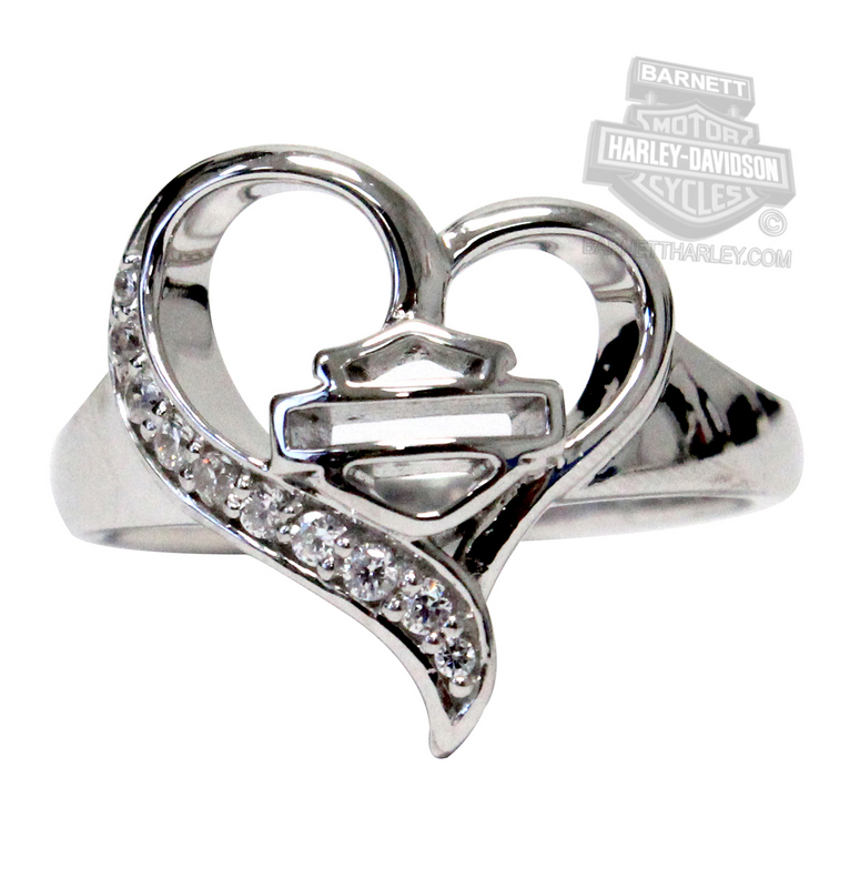 Harley-Davidson® Womens .925 Silver Rebel Heart with White CZ Ring