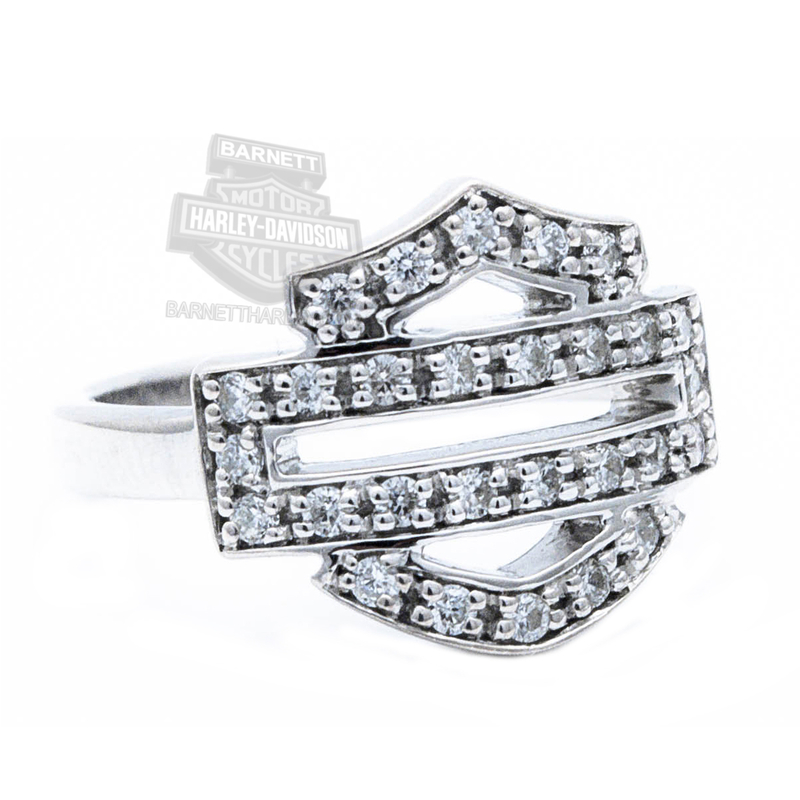 Harley Davidson Womens 925 Silver Bling Outline B S Ring By Mod Jewelry