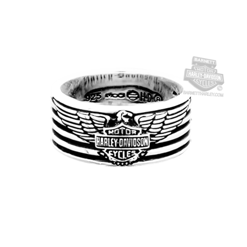 ** SMALL & BIG SIZES ONLY ** Harley-Davidson® Mens .925 Silver Eagle & Stripes B&S Band Ring by Mod Jewelry®
