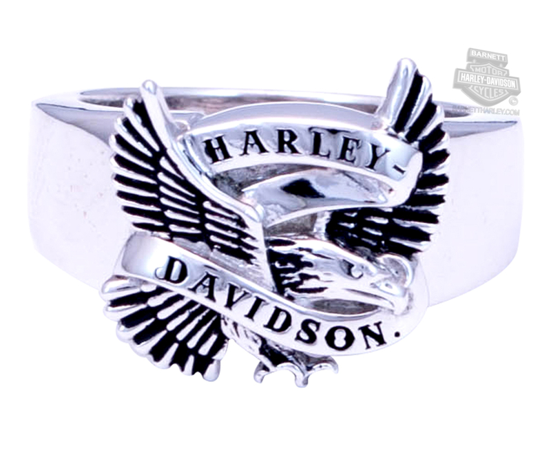 Harley-Davidson® Mens .925 Silver Flying Eagle Banner Silver Ring by Mod Jewelry®